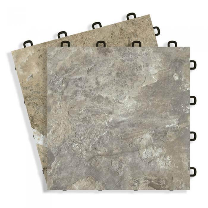 Canyon vinyl top interlocking floor tiles - Slate