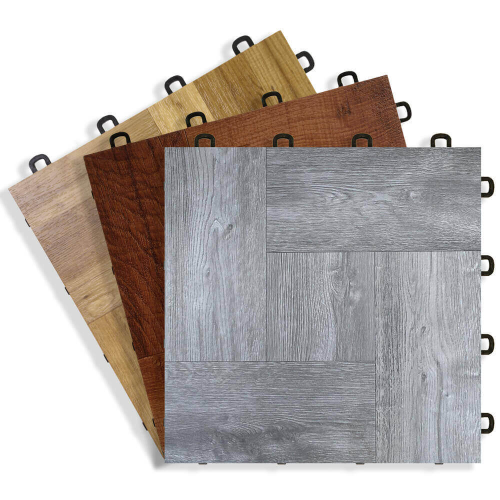 Wood Vinyl Top Interlocking Floor Tiles
